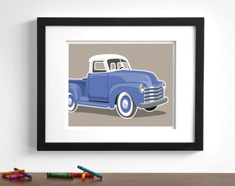 Boys art Vintage Truck wall art print- White Top - pick your colors - childrens transportation wall art