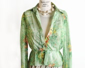 1970's Leslie Fay Sheer Blouse / Green Floral Cinched Waist Button Down / Whimsical Poppy Print Vintage Shirt