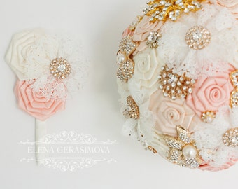 boutonniere for ivory light peach gold brooch bouquet