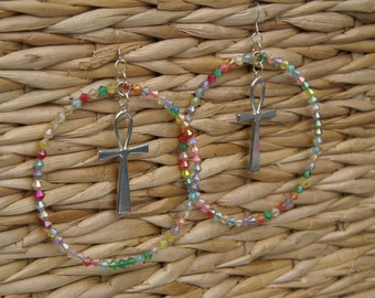 Large Beaded Hoop Earrings With Silver Tone Ankh