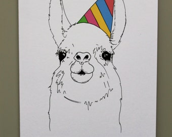 Animal Birthday Card - Llama - Hand drawn and printed in the UK