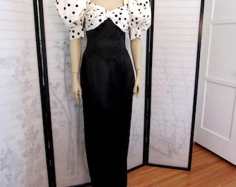 Vintage 80s Retro 40s style Gunne Sax Jessica McClintock Black Satin Polka Dot Puff Sleeve Evening Gown Dress size S Ladies 4