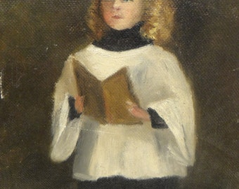 Antique Original Oil on Canvas Painting, Vintage Altar Boy or Choir Girl