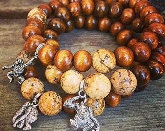 Primate great ape monkey meditation mala wood bead bracelet with natural jasper unisex