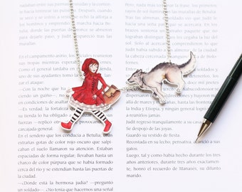 Little red riding hood, shrink plastic necklace