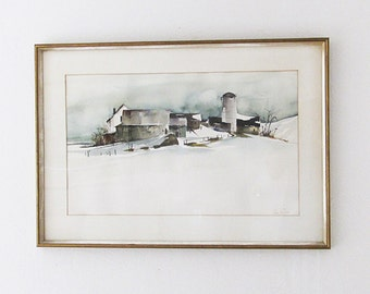 Jane Carlson 1970's Original Watercolor-Farm in Snow-Framed