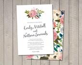 Painted Floral Wedding Invitation (Printable) DIY by Vintage Sweet