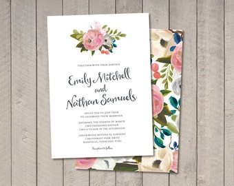 Painted Floral Wedding Invitation (Printable) DIY by Vintage Sweet