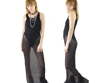 Sheer 90s Designer Grunger Maxi Dress, 90s Goth, Club Mesh Dress, Women's Size Small/Medium