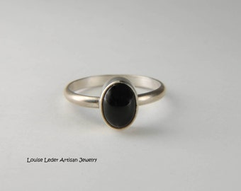 Small Black Onyx Ring Natural Stone Ring Handmade Silver Ring Artisan Ring Simple Ring Pinky Ring Everyday Ring