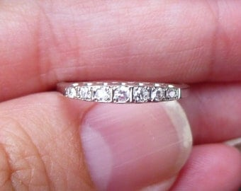 Art Deco Vintage Deco .20 Ct Diamonds 14Kt White Gold Engagement Ring Wedding Band Stacker band
