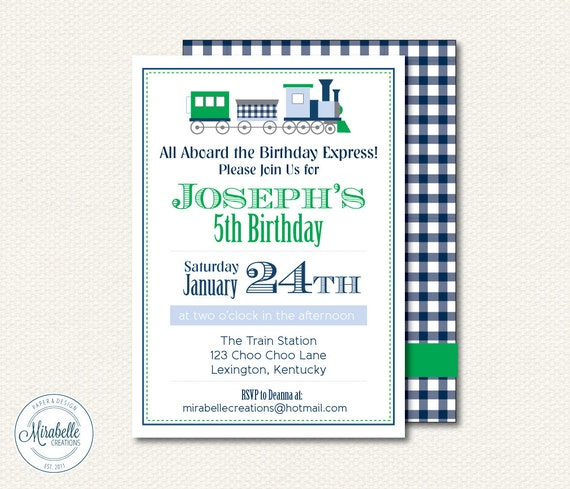 PRINTABLE CUSTOMIZABLE INVITATIONS -- Gingham Train Collection -- Mirabelle Creations