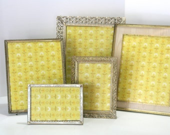 Vintage Set of 5 FIVE Instant Collection Hollywood Regency Gold White Chippy Filagree Ornate Metal Picture Frames for wedding photo gallery