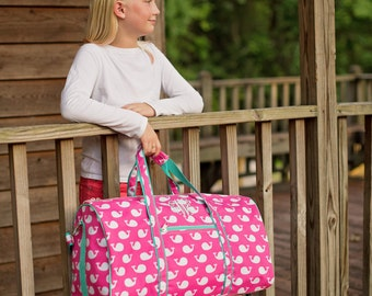 Whale Print Duffle Bag - Girls Personalized Monogrammed