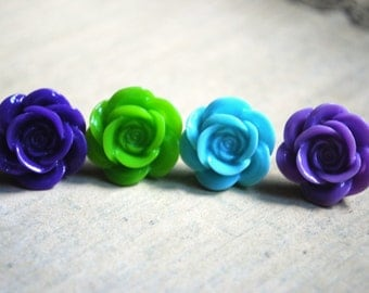 Rose Earrings -- Rose Studs, Flower Studs, Flower Earrings, Choose Your Favorite Color at Checkout!