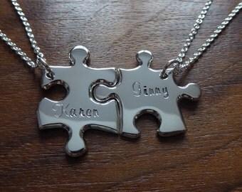 Silver Best Friend Puzzle Pendants with Names 2