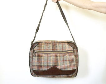 Vintage 60s tweed mod overnight luggage carry on messenger laptop bag