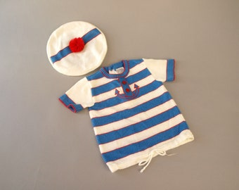 Vintage 60s baby boy sailor anchor striped top plus matching hat 12-18 mo