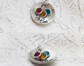 Cupped Grandma Mimi Swarovski Kids Birthstone Mom Grammy Mimi Mama Mawmaw - Pewter Silver Necklace - Engraved Jewelry