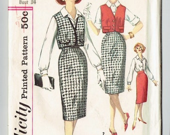 """Simplicity 3122 Size 14 """"Straight Skirt"""" Vest and Blouse Simple to Make Uncut"""