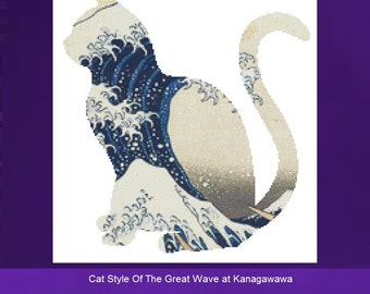 Cat Cross Stitch, The Great Wave at Kanagawawa , Counted Cross Stitch Kit, Wave CrossStitch, DMC Materials