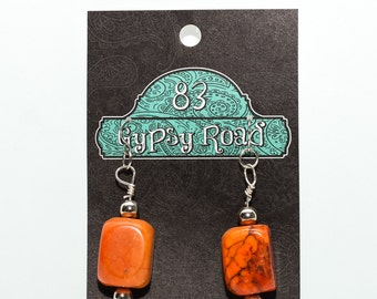 E112 - Orange Magnesite Earrings