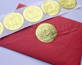 GOLD foil sticker seals, large round embossed stickers – use as Envelope Seals, Invitation Seals, Wedding Seals, gift wrapping seal / D15G