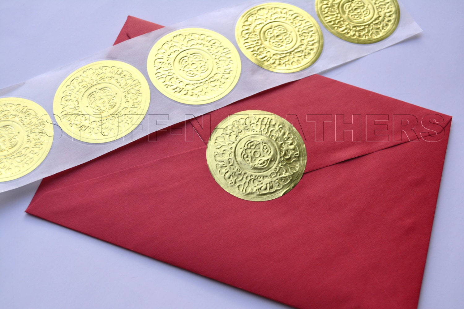 GOLD Foil Sticker Seals LARGE Round Embossed Stickers 2 In