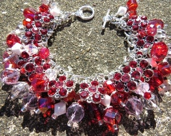 VALENTINE CRUSH Sweet Red, Pink, White and Silver Charm Bracelet ooak