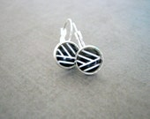 Black White Earrings : Minimalist Abstract Jewelry
