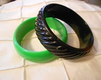 Vintage green and black bangle lot.  Bracelets.