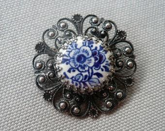 Vintage Porcelain Silver Filigree Brooch - Ceramic Flower Pin - Delft Style