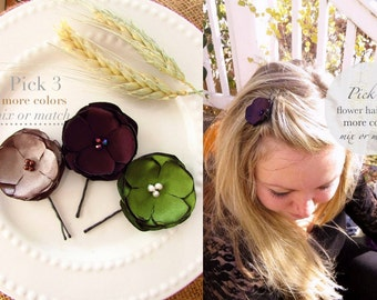 PICK 3 Fall Wedding Hair Flowers, Fall Fabric Flower Hair Clips Girl, Bridesmaid Fall Floral Hair Accessories, Hair Pins, Satin Small Flower