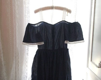 Boho Bohemian off the shoulder navy blue Lace Trim Tunic  Dress Romantic Angel