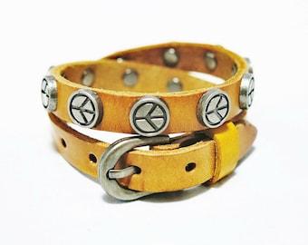 Peace Leather Cuff Bracelet, Peace Stud Leather Bracelet, Wrap Leather Bracelet, Leather Cuff Bracelet, Peace Cuff, Men Cuff, Women Cuff