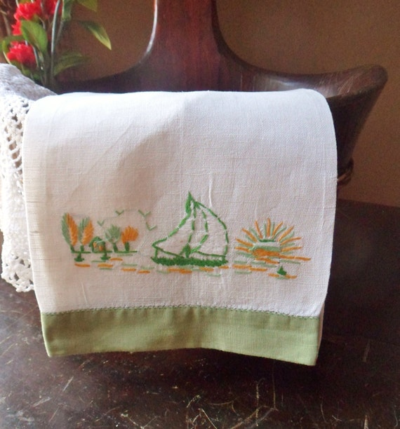 Sail Boat Hand Towel Embroidered Nautical Guest Towel Beach