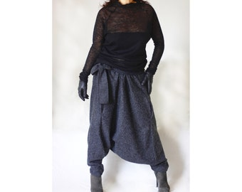Wide Leg Pants Drop Crotch Harem Trousers Plus Size Low High Waist Pants Winter Wool Blend Wide Leg Pants Adjustable Waistband Pants PN004