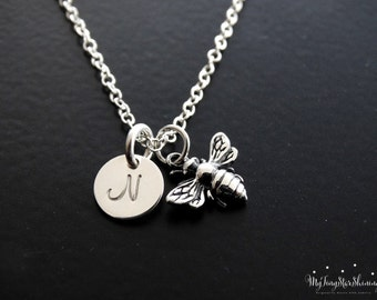 Bumble Bee Necklace Honey Bee Necklace Bee charm Necklace Personalized Initial Necklace Queen Bee Charm Bee Jewelry Silver Bee Necklace