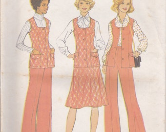 70s Vest, Skirt and Pants Pattern Simplicity 7305 Sizes 10 1/2 & 12 1/2 Uncut