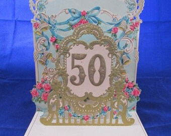 Vintage Fold Out 50th Anniversary Card