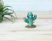 Cactus Ring Holder - Ring Tree - Tiny Ceramic Cactus - Holds Rings of Any Size - Desert Decor - Jewelry Storage - Handmade Cactus Totem
