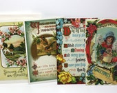 Vintage Greeting Cards, Birthday Cards, Set of 12 Victorian Style Greeting Cards with Envelopes, Paper Ephemera, Great for Scrapbooking
