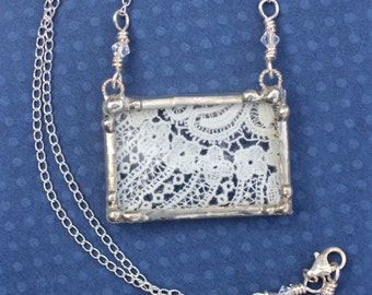Necklace, Lace Pendant, Soldered Jewelry, Vintage Ivory Floral Lace