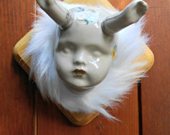 Taxidermy Baby Doll Head Slip Cast Stoneware Ceramic Sculpture