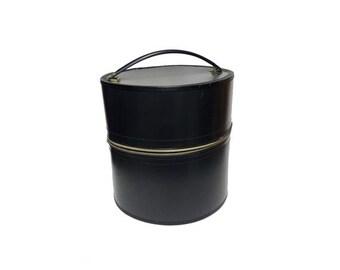 Vintage Wig Box Case - Vintage Round Hat Box, Smooth Black Hat Case, Retro Mod Wig Carrier, Detailed Gold Lining, Mid Century Modern 1960's