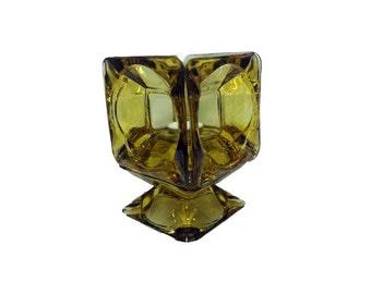 SALE Vintage Glass Candleholder - Vintage Mid Century Amber Glass Candle Holder, Tea Light Votive, Retro Gothic Ashtray Groovy Glass Ashtray