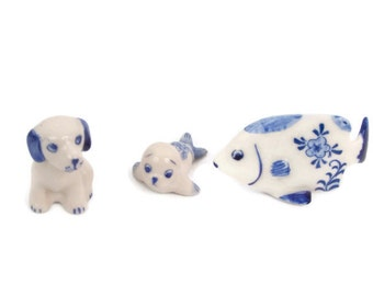 Vintage Delft Blue Miniature Figurines Dog Seal Fish Made in Holland Hand Painted Floral Design Small Ceramic Animals Delftware Pottery