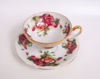 Vintage Pink Roses Tea Cup 3 Footed Teacup Saucer Gold Trim Tea Party Tea Set