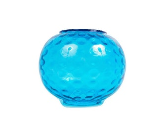 Vintage Turquoise Glass Vase Thumbprint Pattern Large Round Teal Blue Art Glass Globe Shape Centerpiece