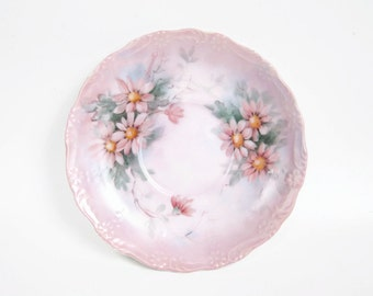 Vintage Pink Saucer Hand Painted Raised Porcelain Pink Flowers Daisy Plate Artist Signed Tea Party